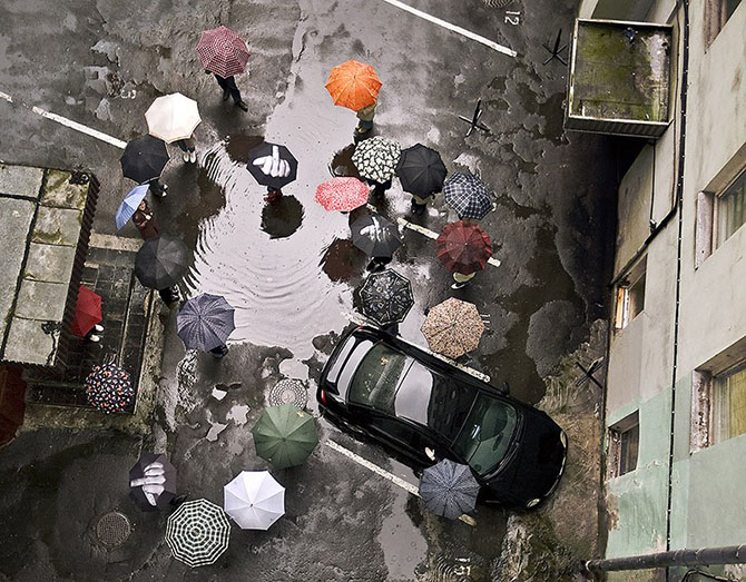 The floating umbrella festival of the canopy street in agueda